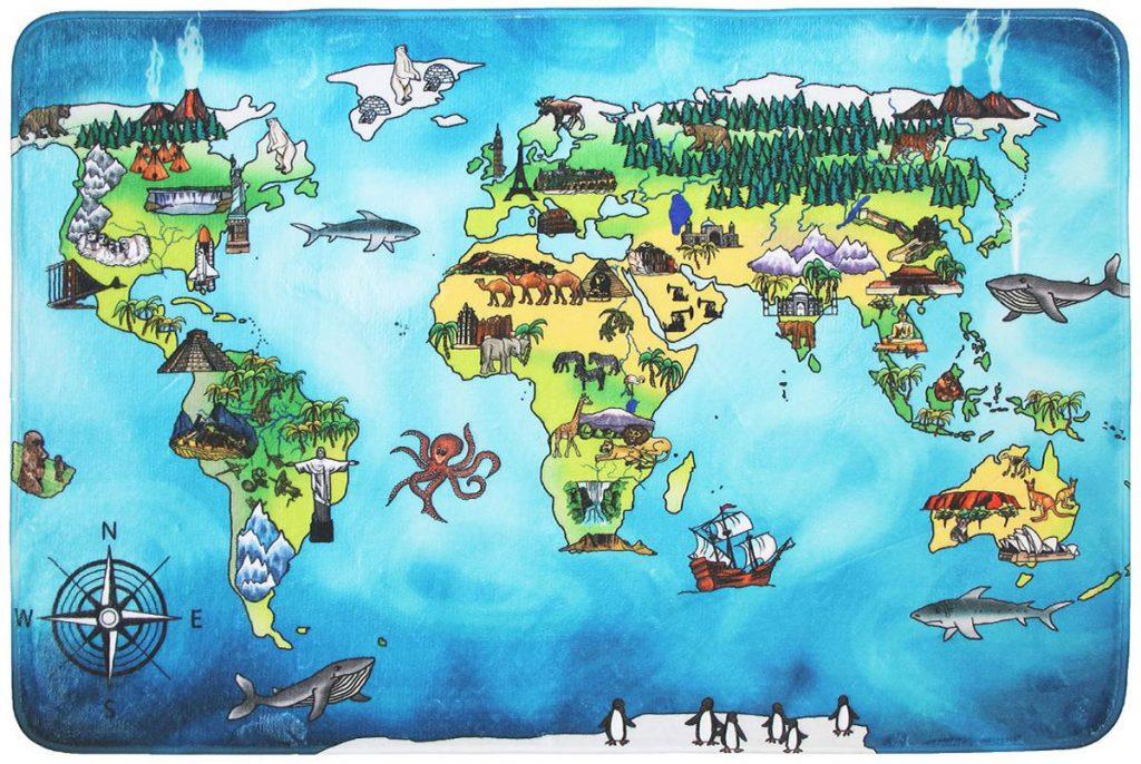Breno detský koberec s motívom mapy sveta
