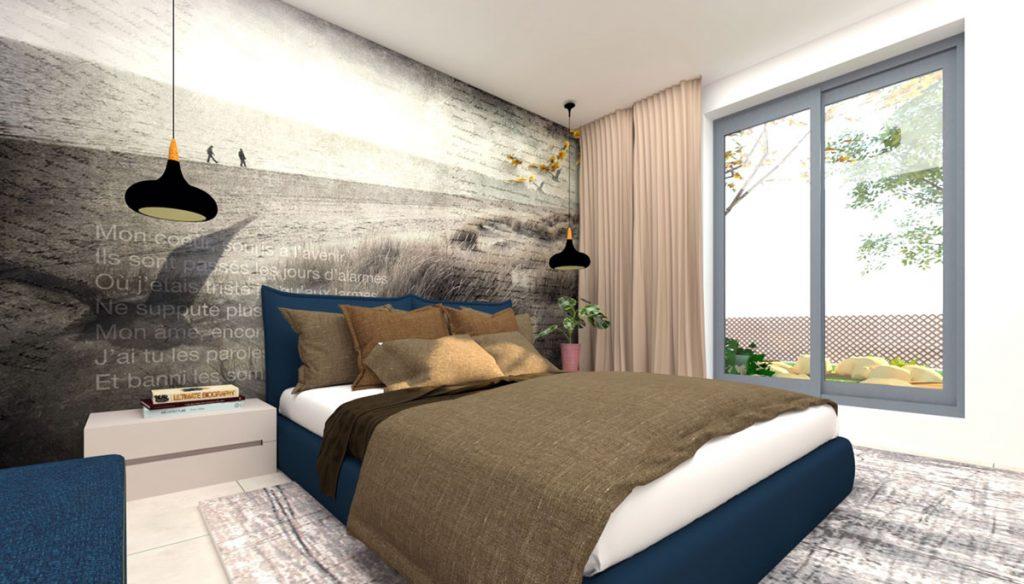 dizajnérsky návrh spálne v elegantnom štýle