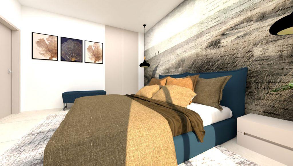 vizualizácia modernej minimalistickej spálne v odtieňoch béžovej, pieskovej a modrej s dominantným prvkom v tapete na jednej zo stien