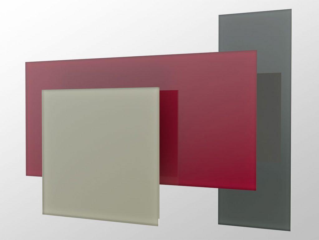 sklenené sálavé vykurovacie panely v červenej a šedej farbe