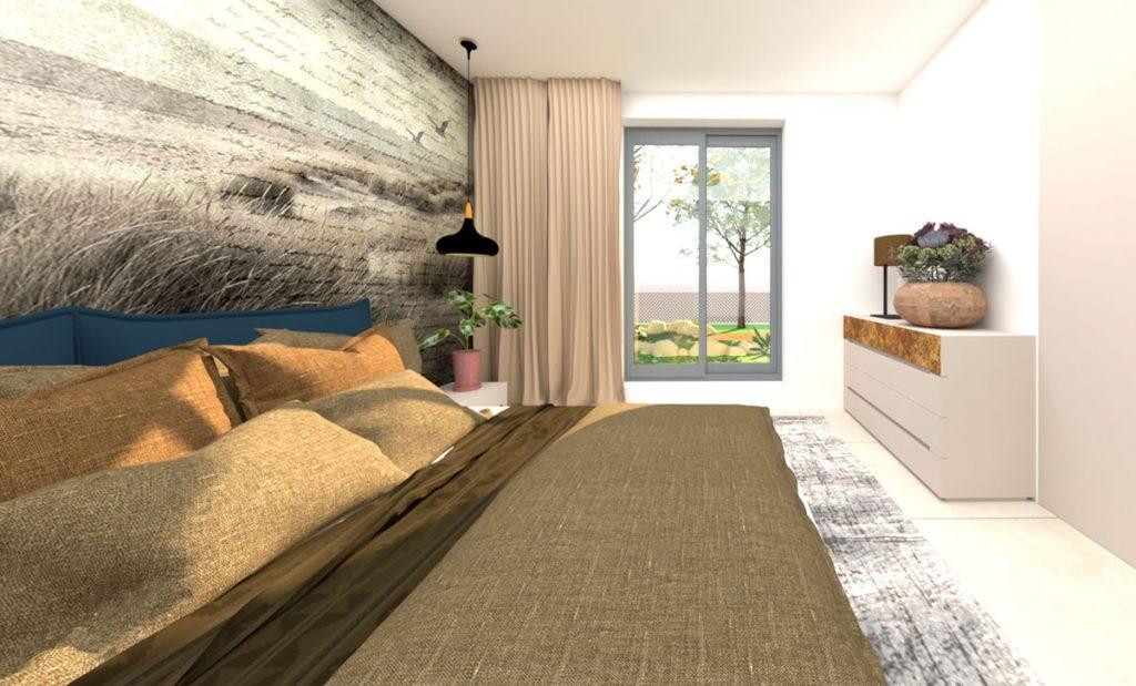 vizualizácia spálne v pieskovobéžovom odtieni