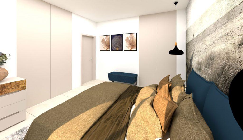 vizualizácia spálne, posteľ s modrým čalúnením a s pieskovobéžovými vankúšmi a prehozom, s minimalistickými úložnými priestormi