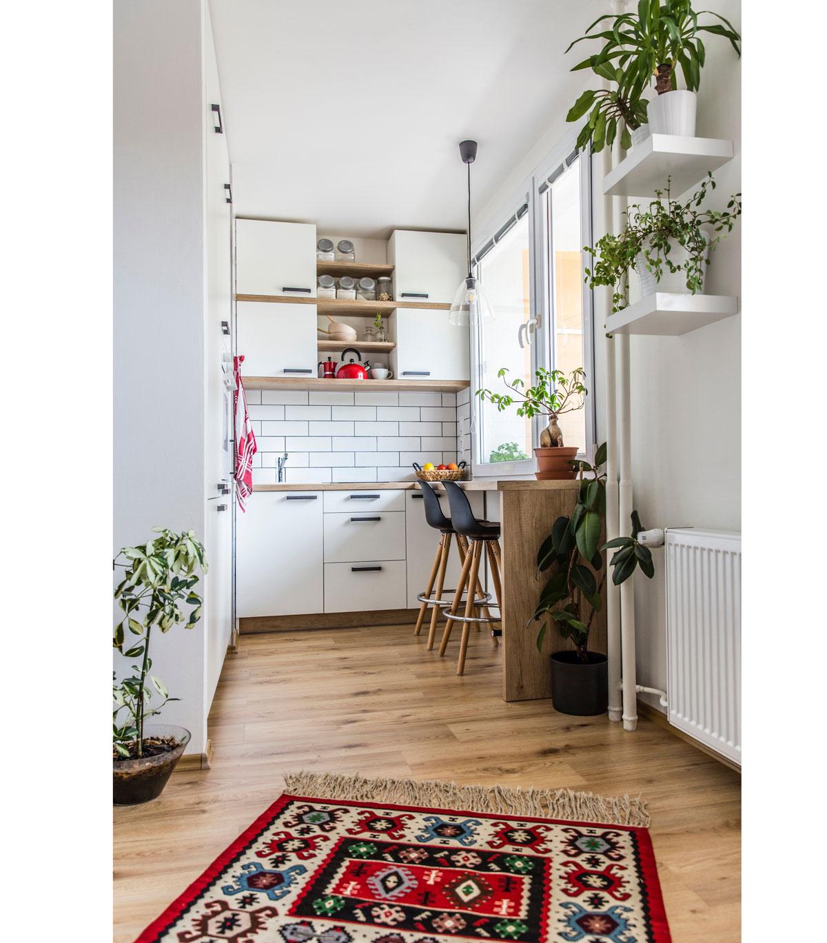 malá kuchyňa s bielou kuchynskou linkou, jedálenským pultom a farebným vzorovaným kobercom