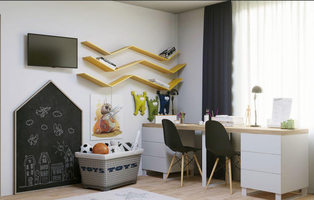 vizualizácia pracovného kútu v detskej izbe