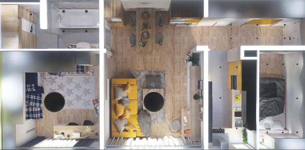 pôdorys grafického návrhu dispozície dvojizbového bytu s detskou izbou a spálňou