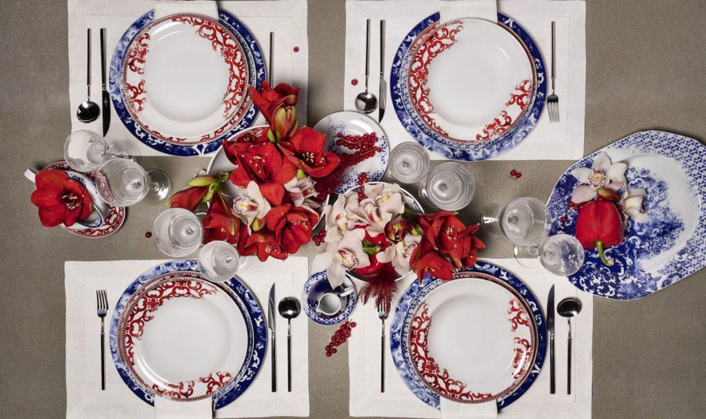 porcelánové taniere s motívom vinobrania