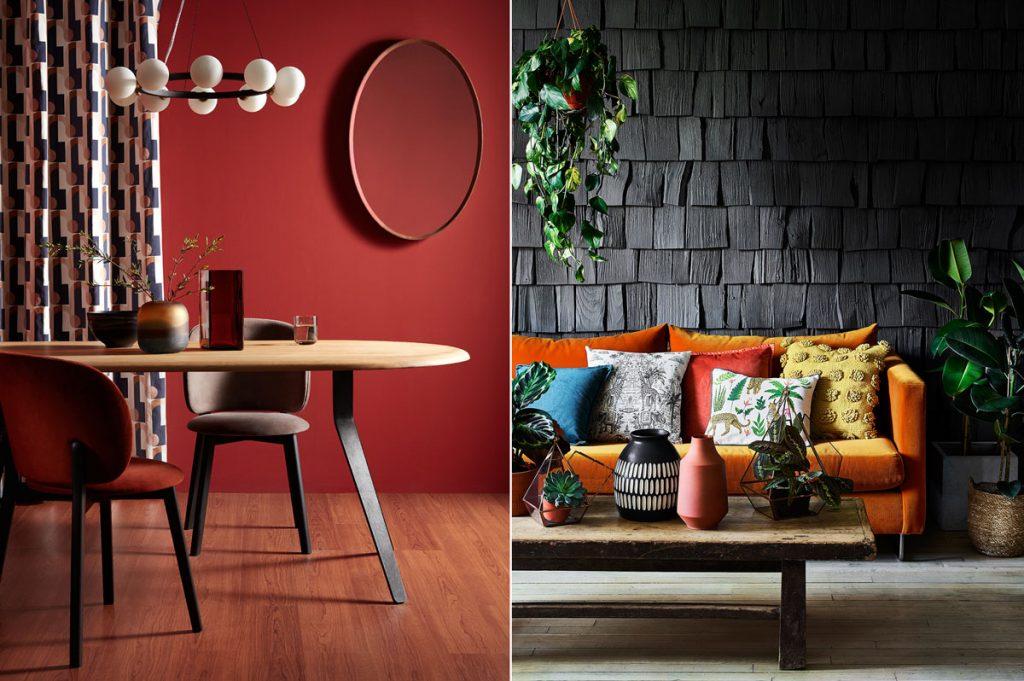 interiér kombinovaný s odtieňmi červenej farby, jedáleň s bordovou stenou a obývačka s tmavosivou stenou a oranžovou sedačkou s mnohými pestrofarebnými vankúšmi