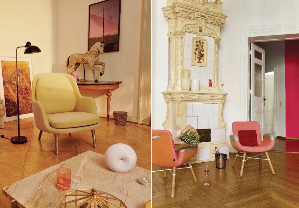 interiér zariadený v odtieňoch červenej v kombinácii so žltou, bielou, zlatou a hnedou