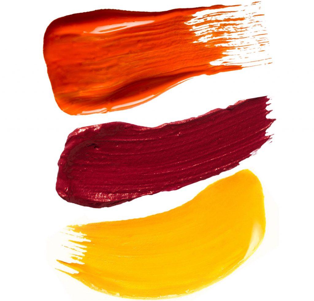 trojkombinácia bordovej, červenej a žltej farby