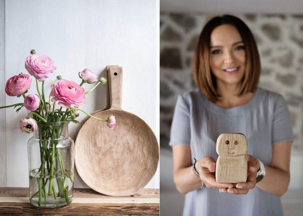 Adriana Gregor z 50 Arches s dreveným produktom a drevený lopár s ružami v sklenenej váze