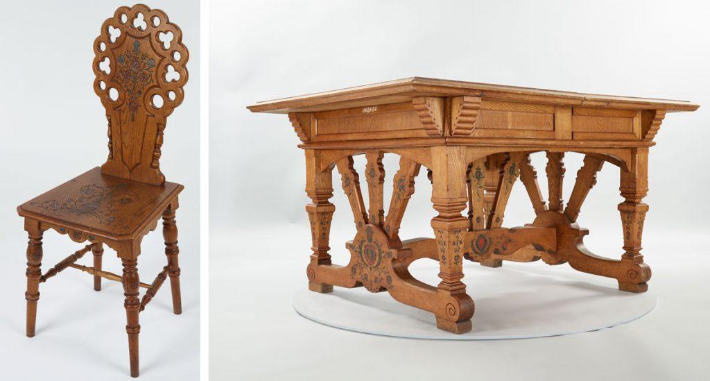 historická stolička a stôl s ľudovými ornamentmi