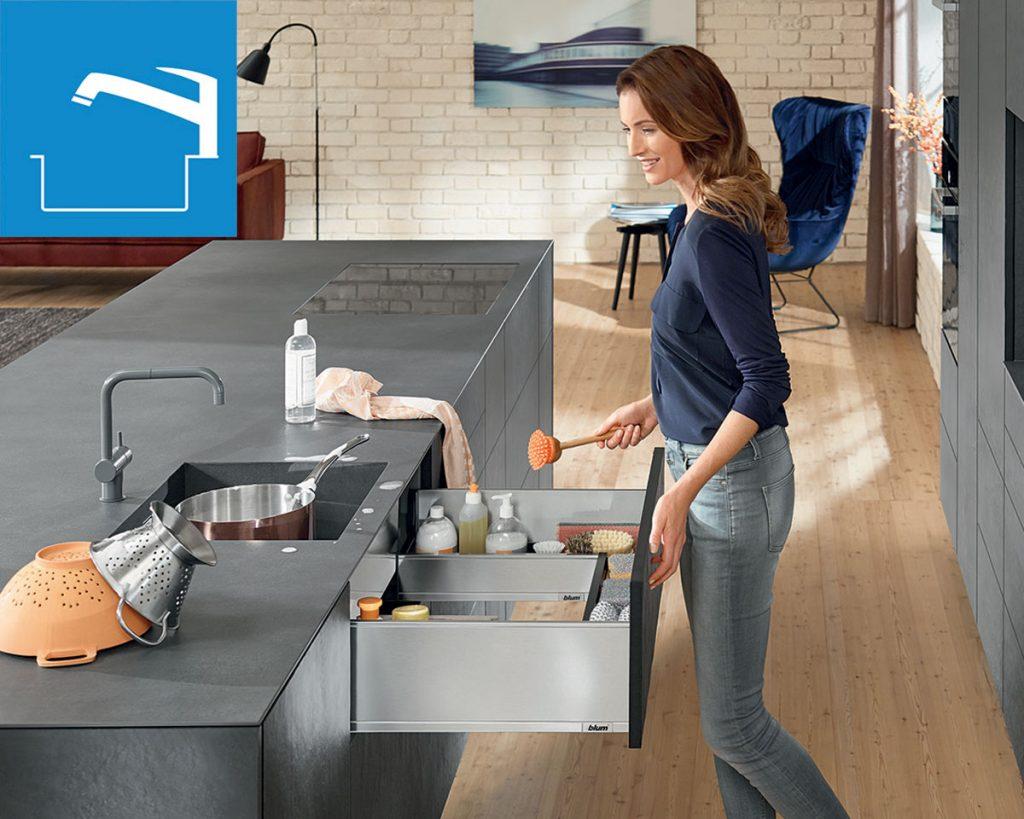 úložné kuchynské priestory, výsuv pod drezom