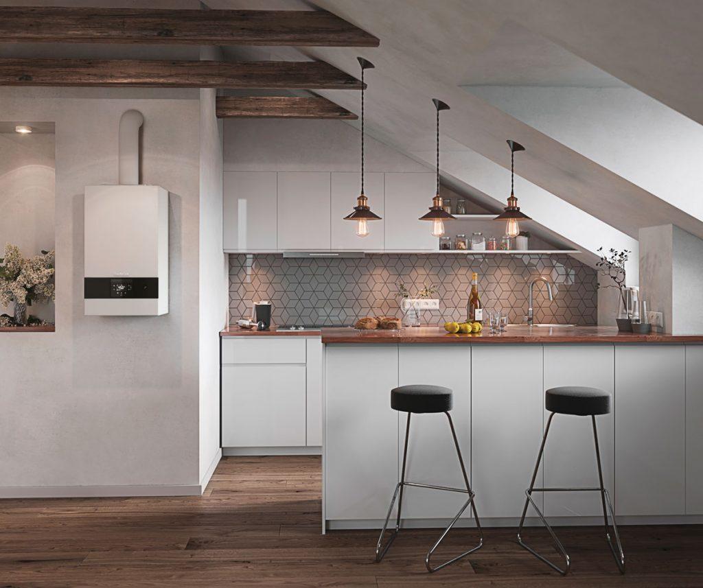 kotol umiestnený v kuchyni