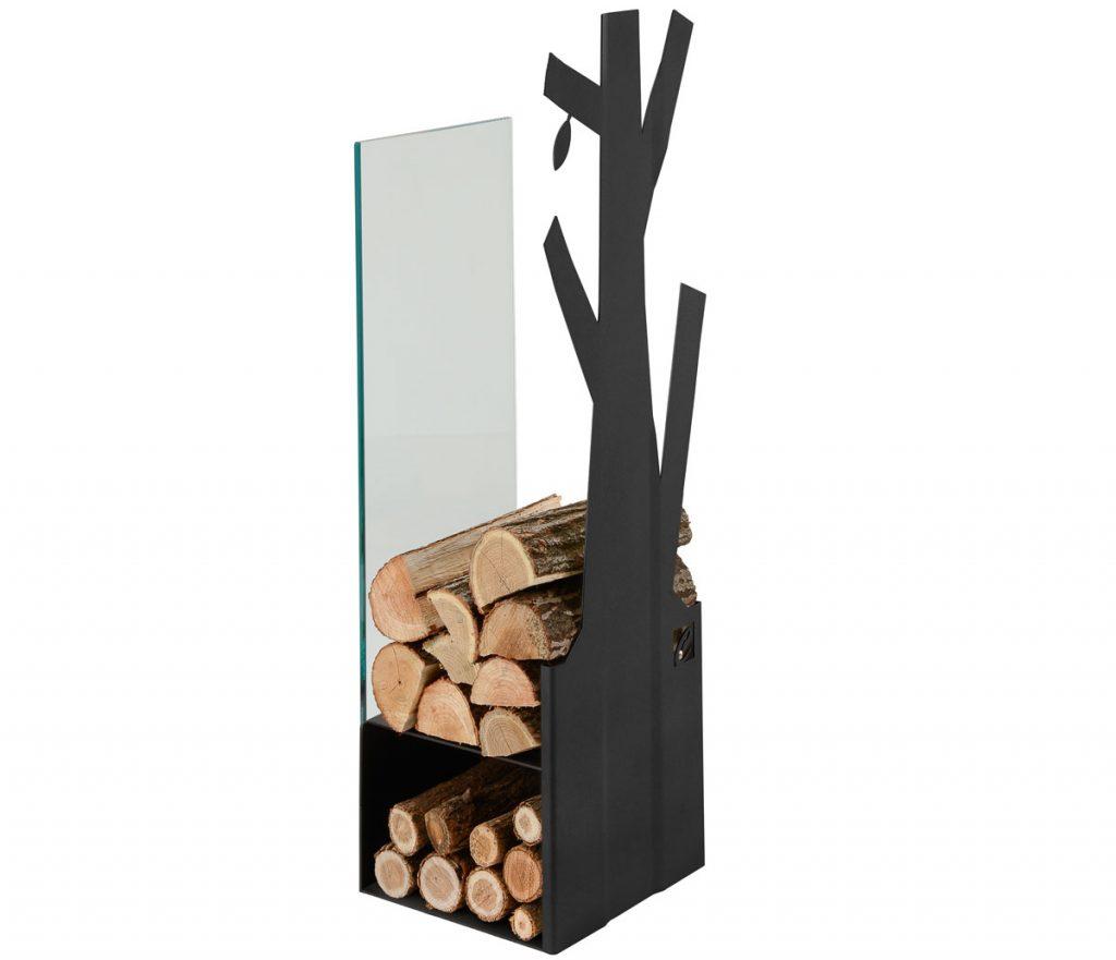 čierny stojan na drevo v tvare stromu CafDesign z ocele a skla