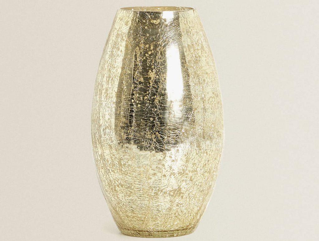 zlatá váza z merkurizovaného skla
