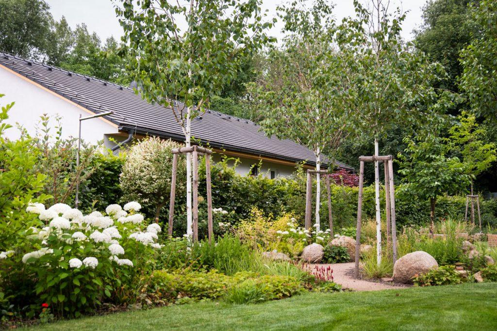záhrada oddelená od susedného domu brezovým hájikom s bohatými trvalkovými záhonmi a chodníčkami z lomového kameňa
