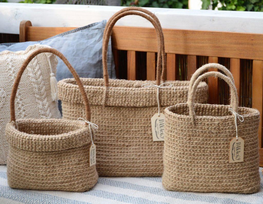 pletené nákupné tašky z prírodného materiálu