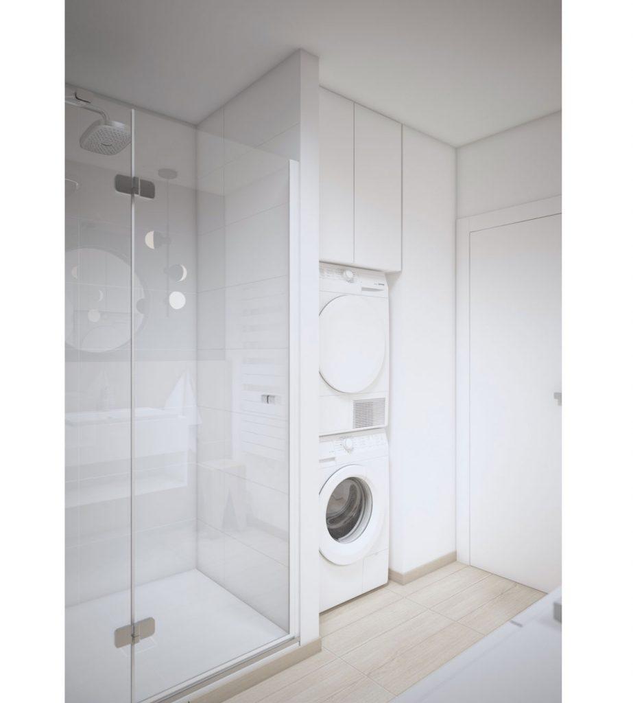 vizualizácia kúpeľne, ktorá mala byť pôvodne realizovaná v štandarde podľa developerského projektu, v kúpeľni je sprchovací kút, miesto na sušičku s práčkou a ukladací priestor
