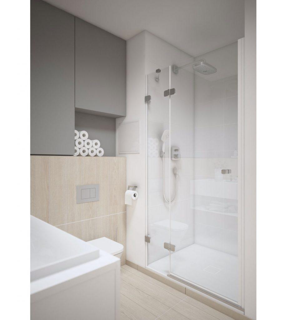 vizualizácia kúpeľne, ktorá mala byť pôvodne realizovaná v štandarde podľa developerského projektu, v kúpeľni je sprchovací kút, skrinky a umývadlo