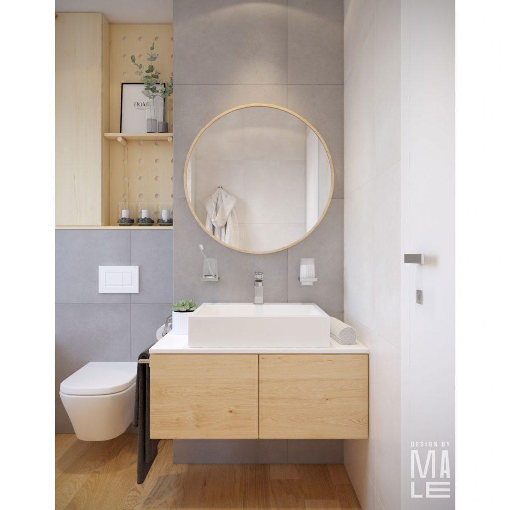 návrh panelákovej kúpeľne s nábytkom vyrobeným na mieru v prírodnom škandinávskom štýle