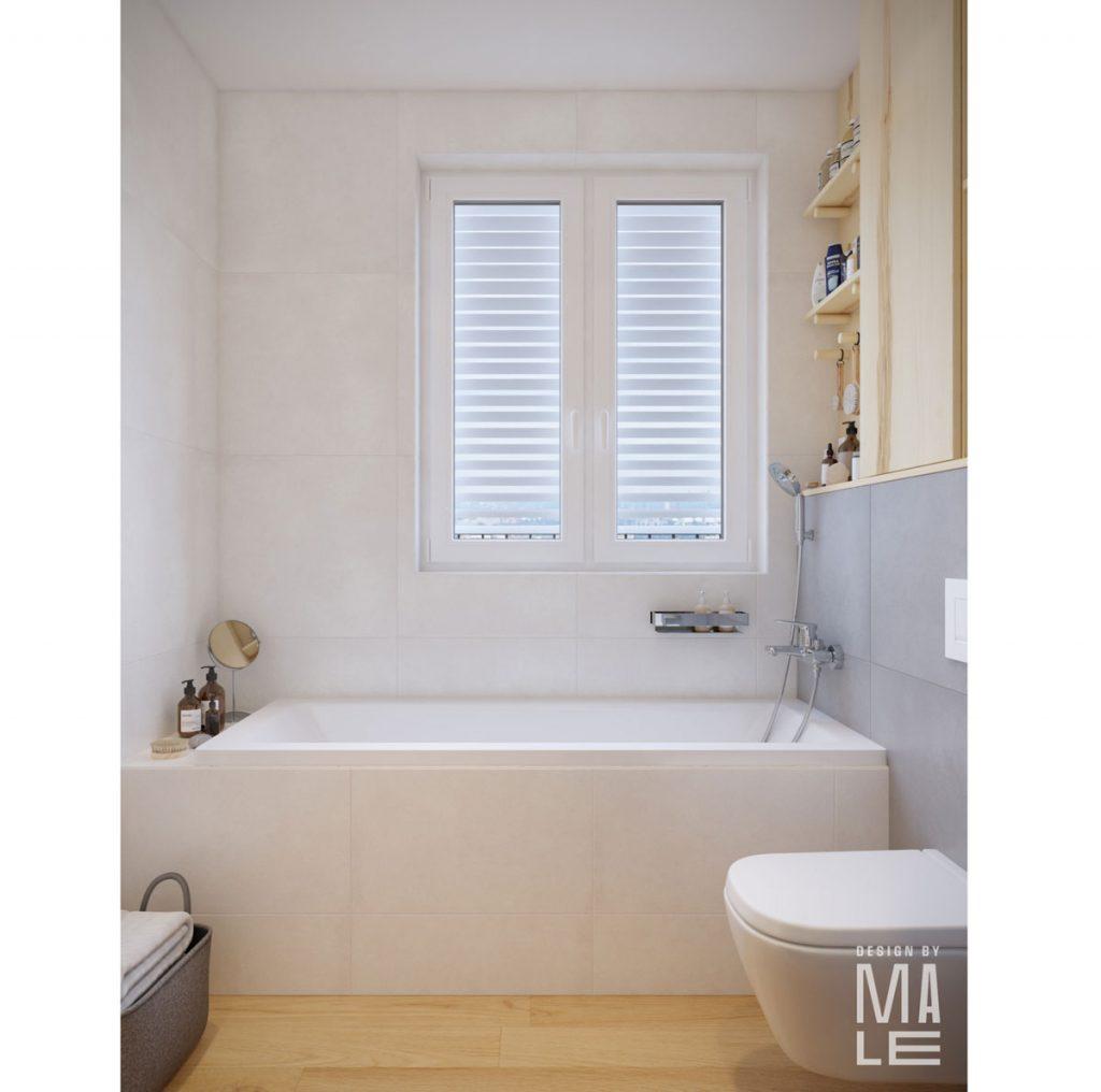 návrh panelákovej kúpeľne s vaňou pod oknom a so zachovaním pôvodnej dispozície