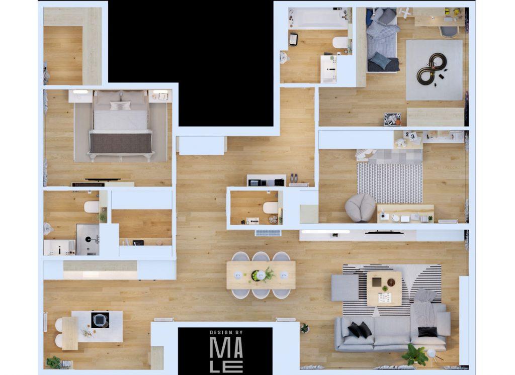 pôdorys bytu v škandinávskom štýle
