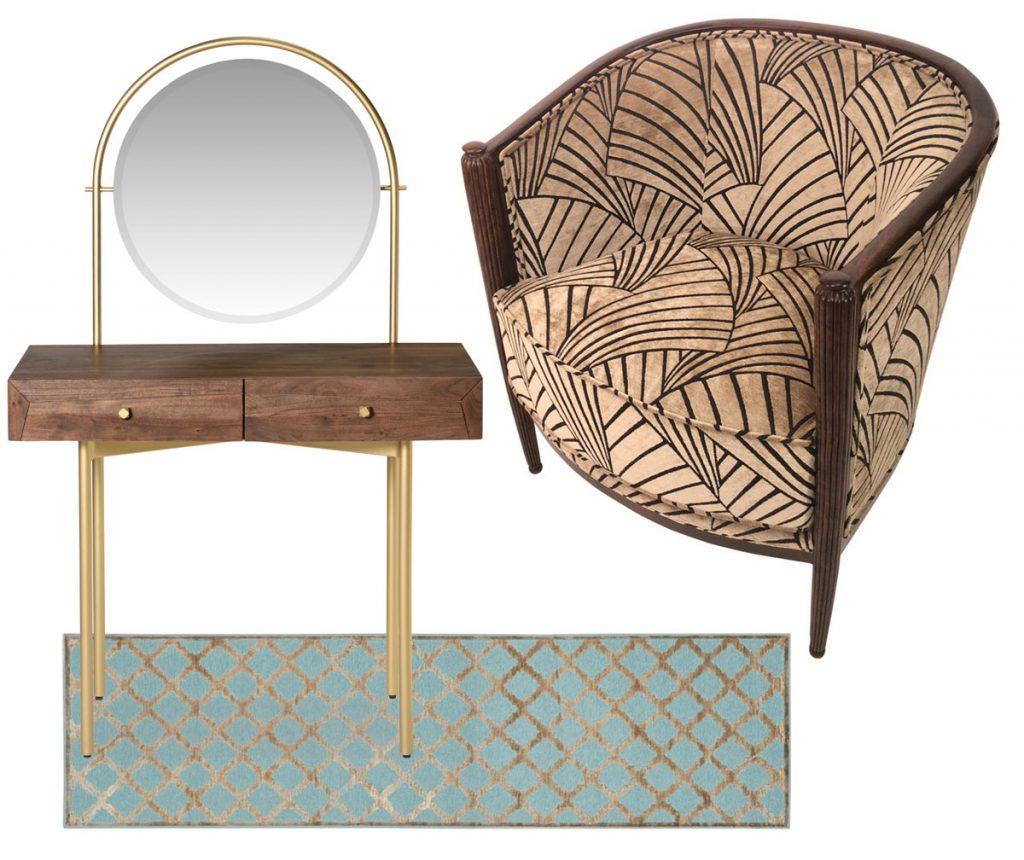 art déco nočný stolík so zlatými nožičkami so zrkadlom, tyrkysový behúň so zlatým vzorom a francúzske vzorované starožitné kreslo