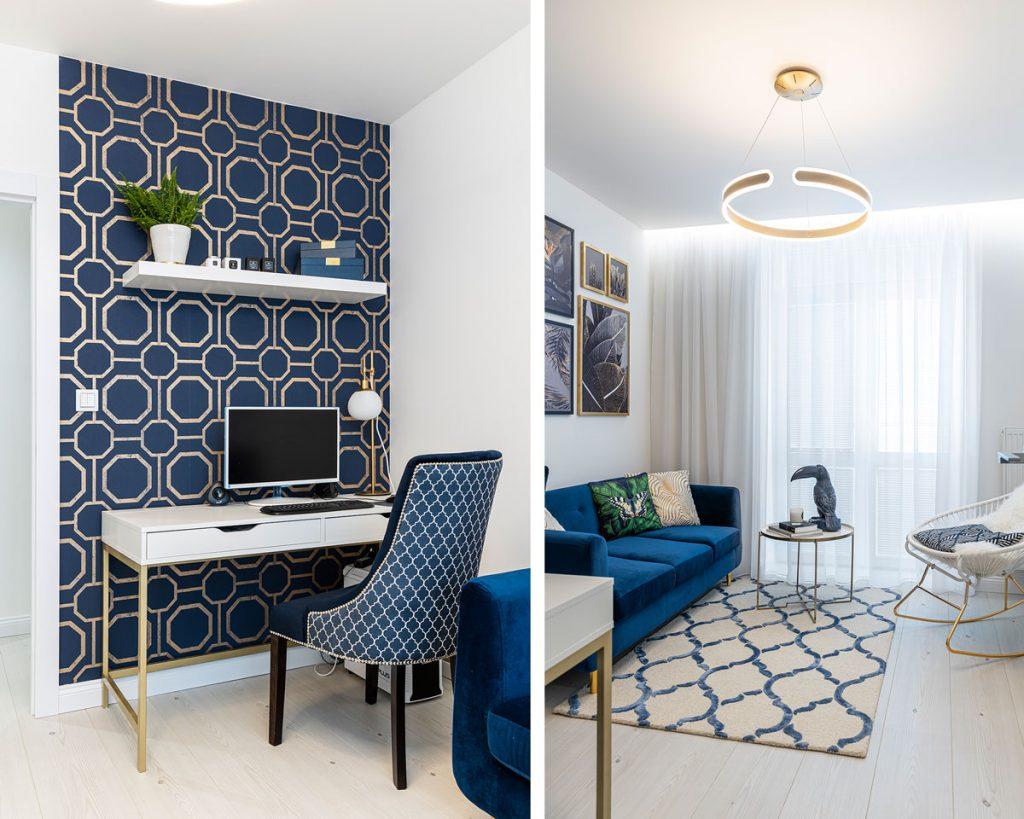 pracovňa zariadená v modrej farbe so vzorovanou tapetou, stolíkom a štýlovým kreslom, s modrým zamatovým gaučom a hojdacím kreslom