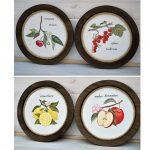 retro drevené kruhové dekorácie s motívom ovocia