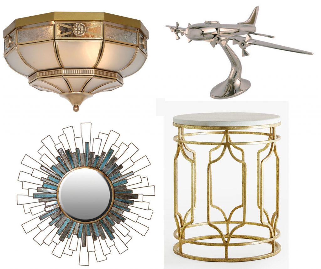 luster v art déco štýle v zlatej farbe v kombinácii kov a sklo, art déco zrkadlo motív slnka, model vrtuľového lietadla, kávový stolík v art déco z kovu a mramoru