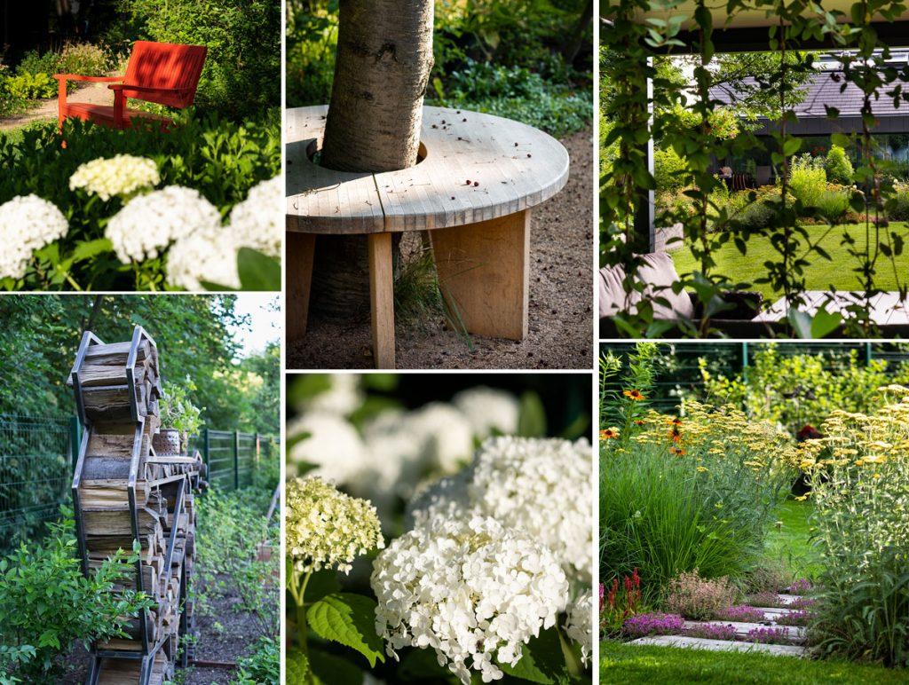 detaily záhrady - stromčekovitá hortenzia, lavička okolo kmeňa stromu, zelená stena na pergole, kovová socha slúžiaca ako stojan na drevo, trvalkové záhony a lavička