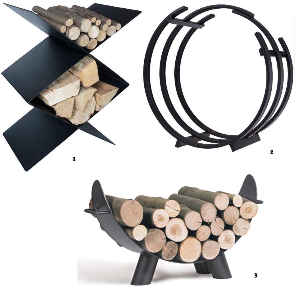oceľový čierny zásobník na drevo CafDesign, okrúhly kovový zásobník na drevo, oceľový stojan na drevo