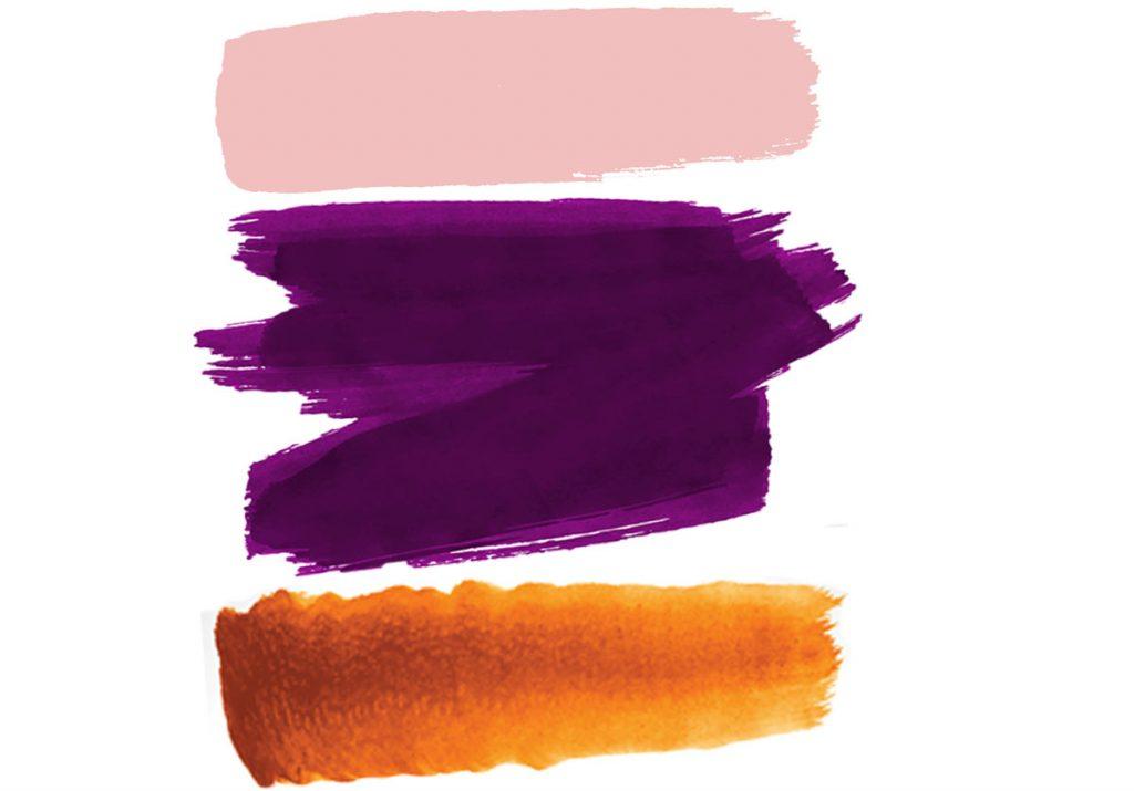 farebná trojkombinácia vínovej, oranžovej a ružovej