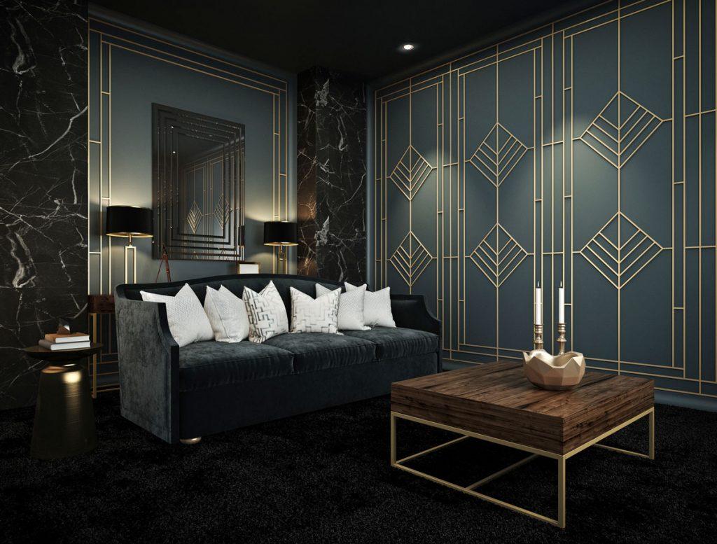 obývačka v art déco s tmavým kobercom, sedačkou a stenami a zlatými prvkami na nábytku a dekoráciách