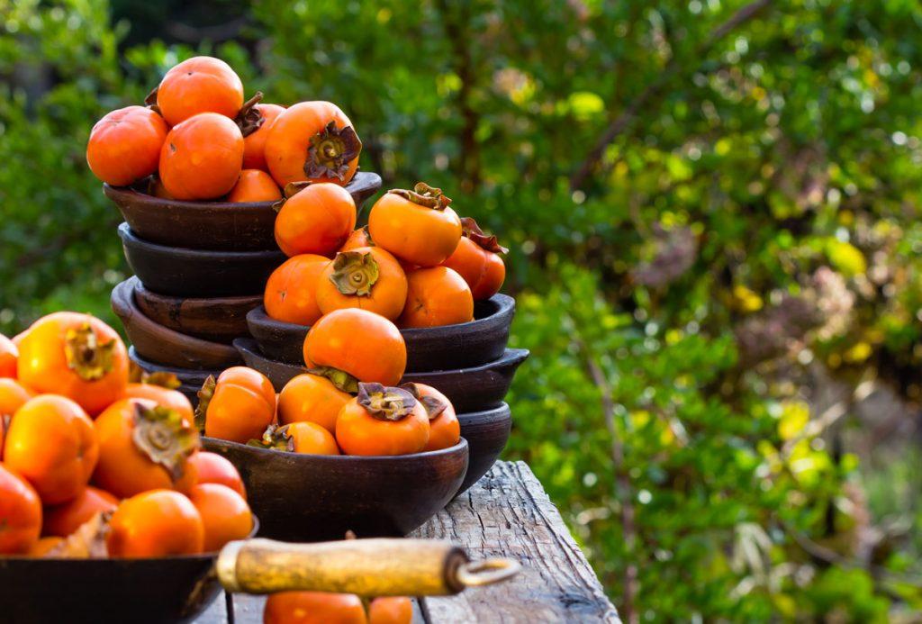 plody hurmikaki v miskách