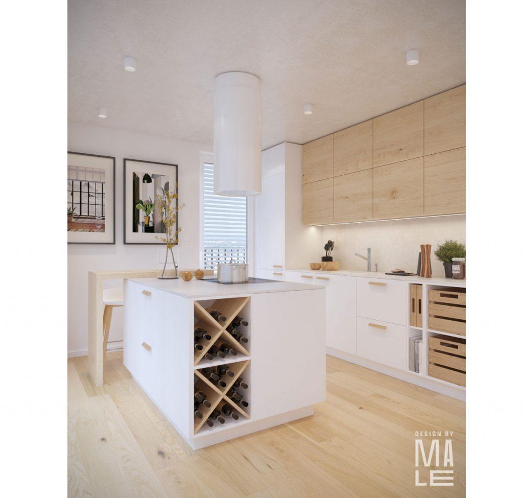 útulná kuchyňa v severskom štýle, s bielou kuchynskou linkou, drevenými skrinkami a bielym ostrovčekom s úložnými priestormi a odkladacím priestorom na víno