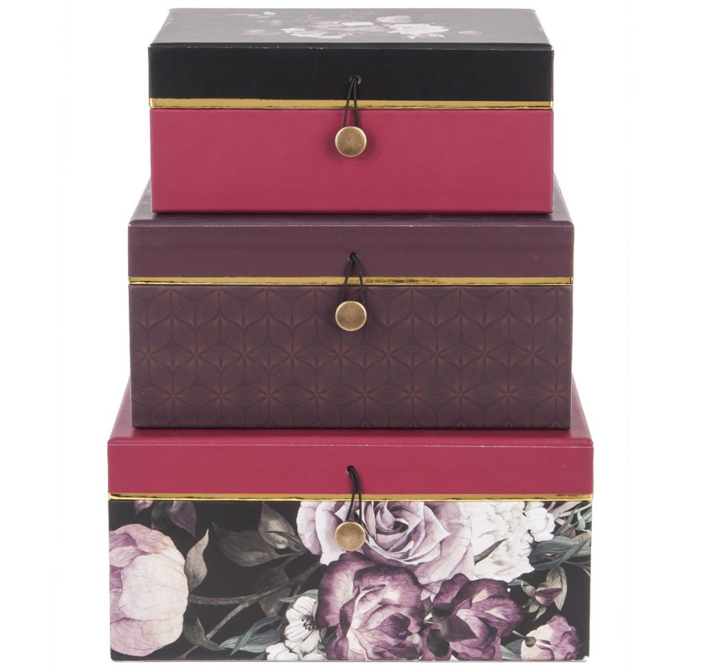 súprava odkladacích boxov vhodná na balenie darčekov
