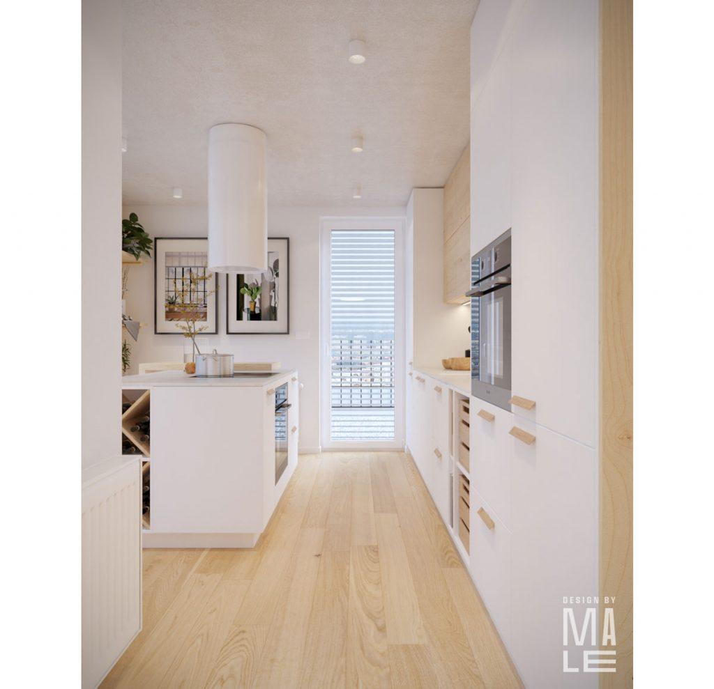 kuchyňa v bielej farbe, v severskom štýle a s kuchynským ostrovčekom