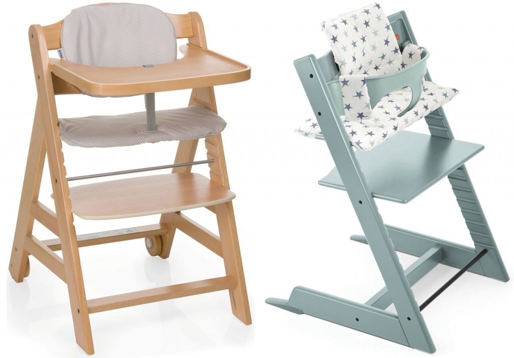 drevená detská stolička na kŕmenie, drevená detská nastaviteľná stolička z buku v tyrkysovej farbe