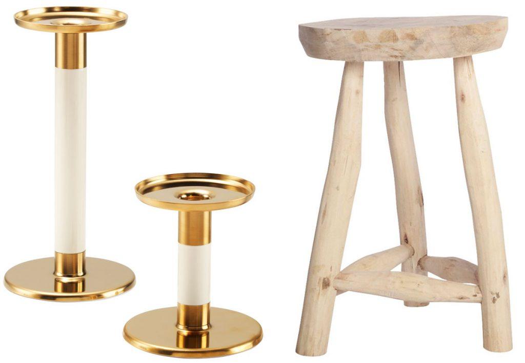 svietnik v zlatej farbe z ocele, ručne vyrobená drevená stolička