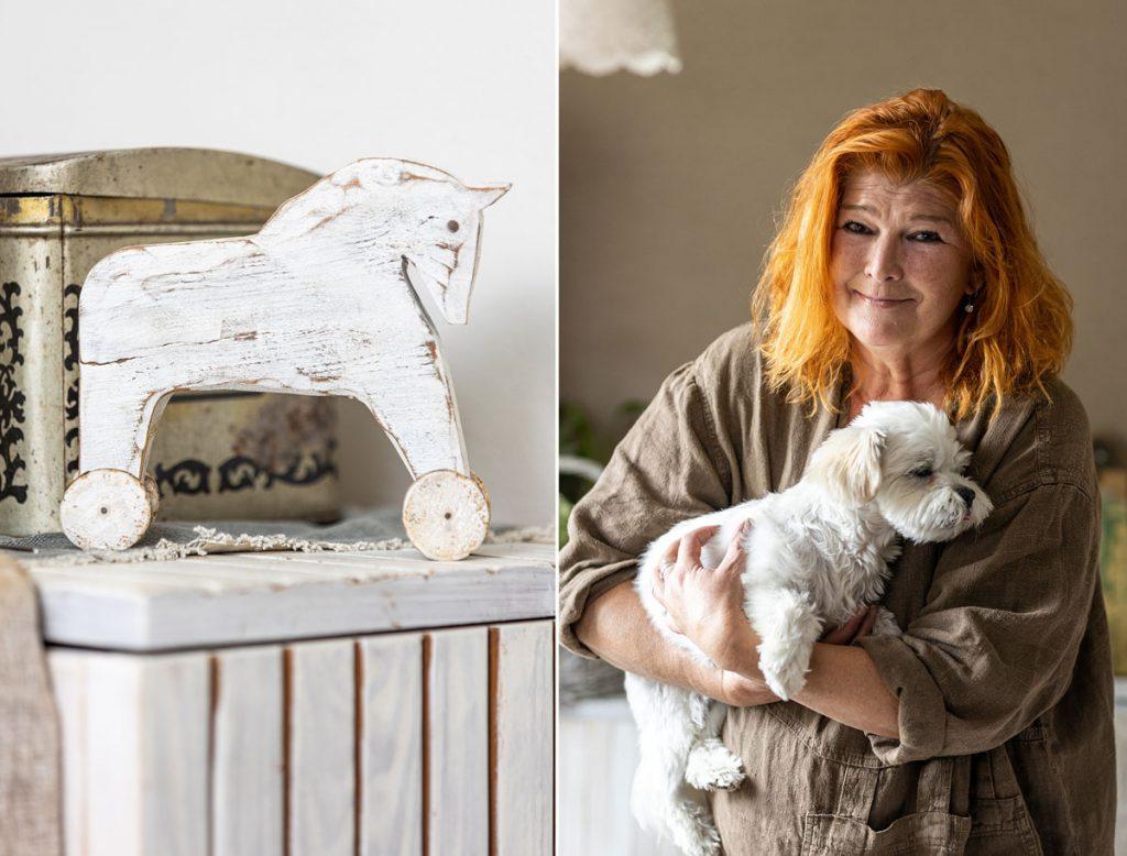 drevený koník na kolieskach v bielej farbe, výtvarníčka Hana Jánska