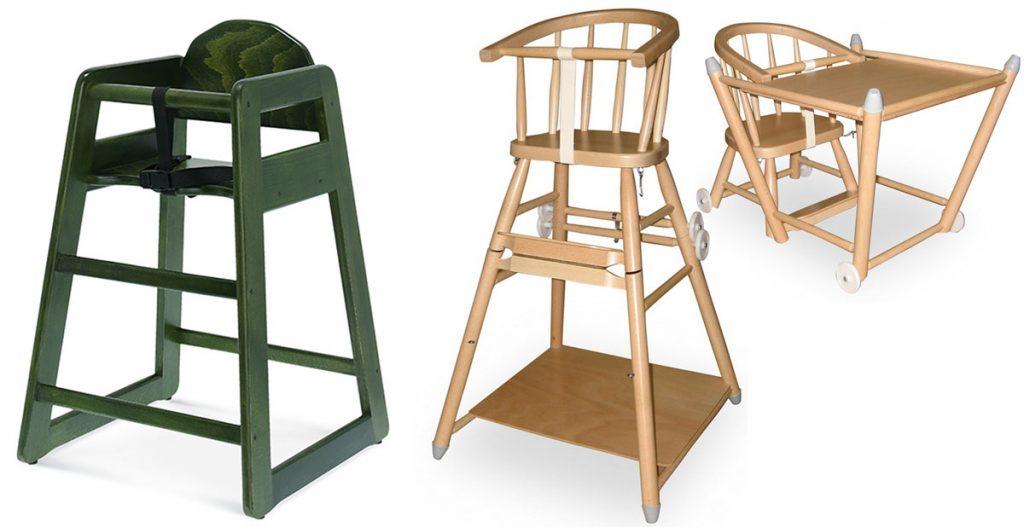 zelená detská stolička z bukového dreva, rozložiteľná drevená detská stolička