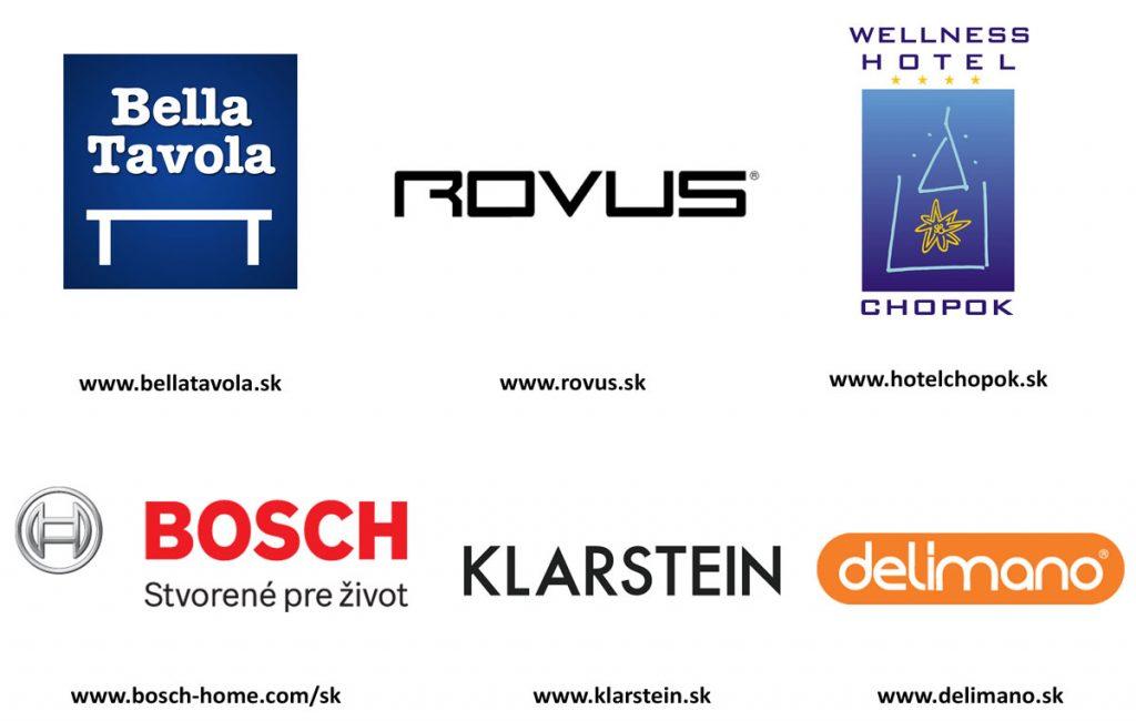 partneri súťaže Bella Tavola, Rovus, Wellness Hotel Chopok, Bosch, Klarstein, Delimano