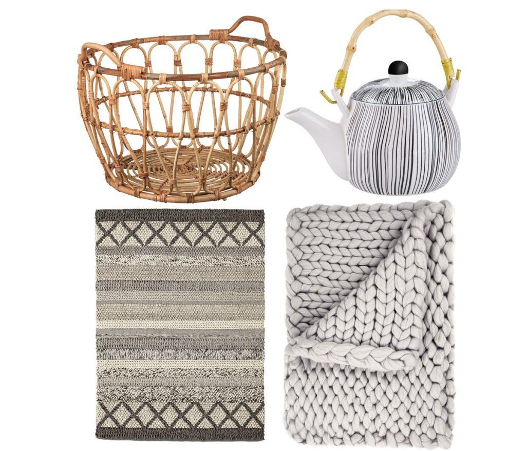 ratanový pletený kôš, porcelánová kanvica na čaj, ručne tkaný koberec z bavlny a vlny, pletená deka z merino vlny