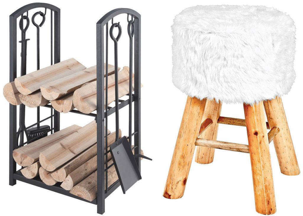 kôš na drevo s pomôckami, drevený taburet s imitáciou kožušiny
