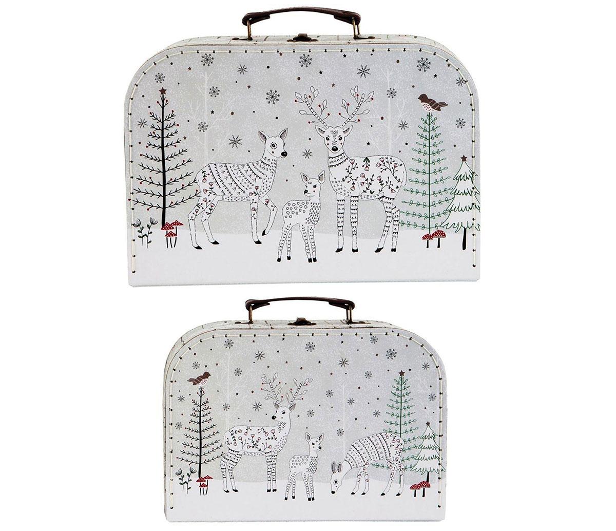 detské kufríky so zimným motívom jeleňov