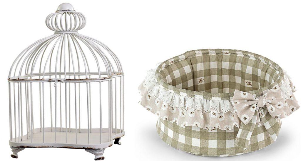 dekoratívna vtáčia klietka, textilný shabby chic košík