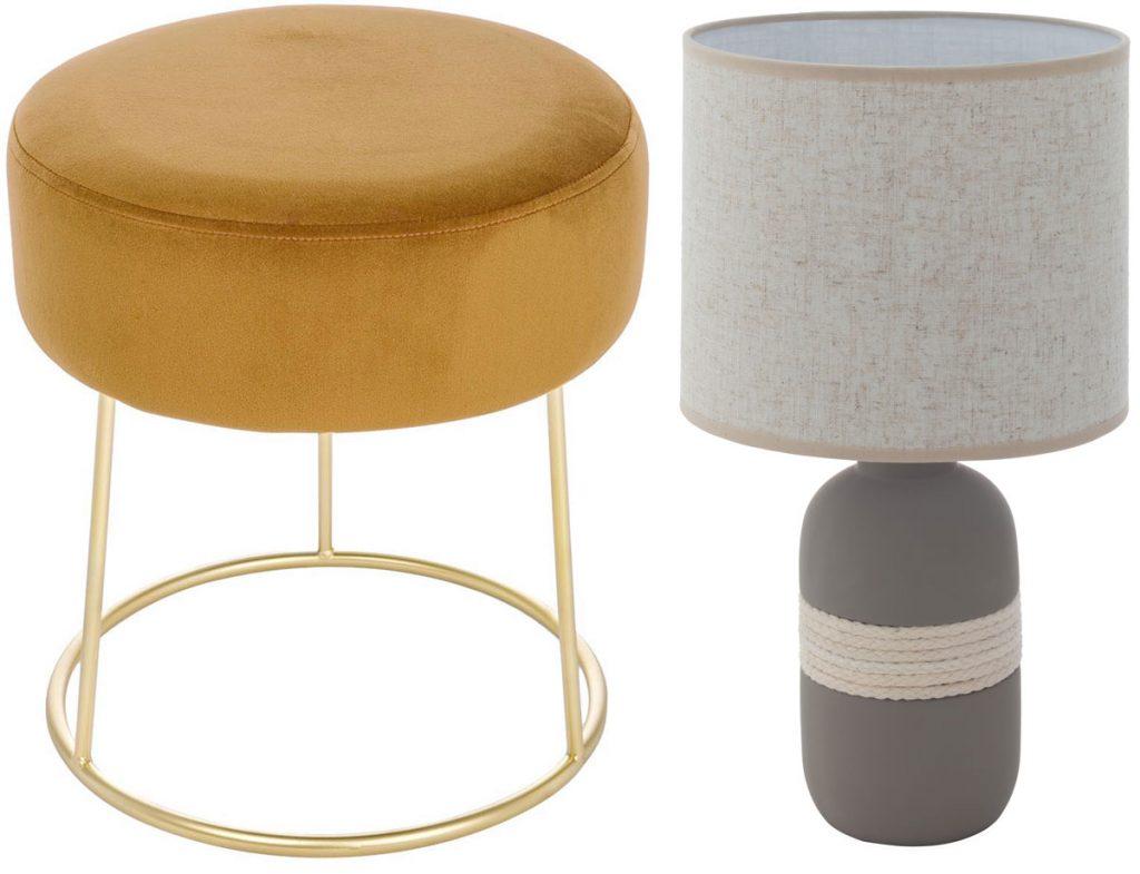 zlatá zamatová taburetka a stolové sivé svietidlo s textilným tienidlom