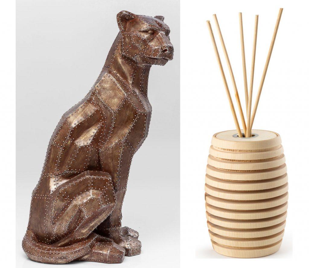 dekoračná figúrka mačacej šelmy a difúzer z borovicového dreva