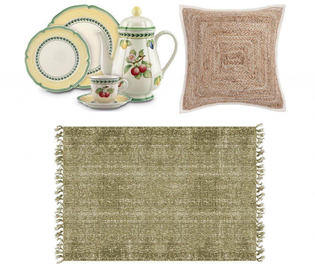 porcelánová súprava riadu zložená z čajníka, tanierov a šálky s podšálkou, jutová obliečka na vankúš, bavlnený koberec